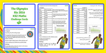 The Olympics Rio 2016 UKS2 Maths Challenge Cards Arabic Translation - arabic, KS2 Maths, Olympics, Rio, sevens, rugby, target, archery, tickets, halving, olympic torch