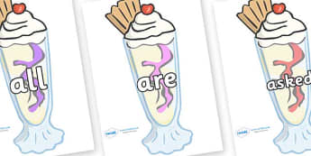Tricky Words on Ice Cream Sundaes - Tricky words, DfES Letters and Sounds, Letters and sounds, display, words