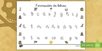 Tapiz de formación de letras: Los piratas - Los piratas, proyecto, transcurricular, el mar, barcos, caligrafía, escribir, motricidad fina, escr