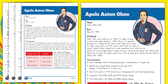 USA Olympians Fact Sheet and Comprehension Questions Apolo Ohno - usa, america, reading comprehension, olympics