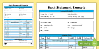 Bank Statement Example - CfE, everyday maths, real life maths, money problems, budgeting