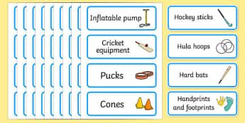 PE Resource Labels - PE label, PE equipment, PE, physical education, PE cupboard, PE, physical development, quoits, cones, bats, balls, Resource Label, Editable Labels, KS1 Labels, Foundation Labels, Foundation Stage Labels