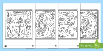 Illuminated Letters Colouring Pages, letters, illuminated  - UKS2, LKS2, negative, positive, number, zero, forwards, backwards, context, calculate