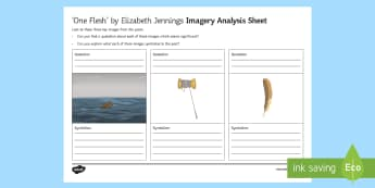 GCSE Poetry - 'One Flesh' by Elizabeth Jennings Imagery Analysis Activity Sheet - One Flesh, Elizabeth Jennings, The Movement, GCSE Poetry, Imagery, Edexcel Poetry, post-1914 poetry.