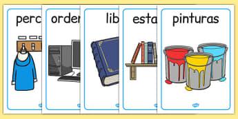 Póster de objetos de la clase - etiquetar, aula, decoración, etiquetas