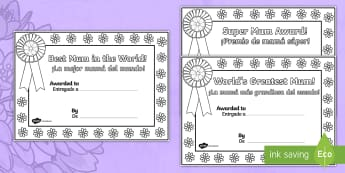 Mother's Day Certificates English/Spanish - Mother's Day Certificates (Colouring) - Mother's day card, mother's day cards, mother's day acti