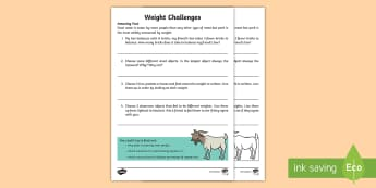 Weight Challenges Activity Sheet - Amazing Fact Of The Day, activity sheets, powerpoint, starter, morning activity, January, amazing fa