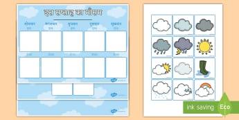 इस साप्ताहिक मौसम का रिकॉर्डिंग चार्ट - साप्ताहिक मौसम का रिकॉर्डिंग चार्ट - म