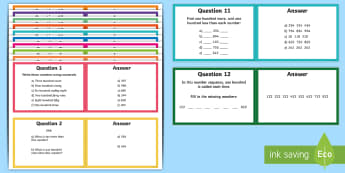 Grade 3 Number and Place Value Challenge Cards - Math, Number Sense and Numeration, Grade 3, Primary.
