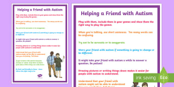 Helping a Friend with Autism Display Poster - KS1&KS2 World Autism Awareness Day (2nd April 2017), Autism Spectrum Disorders, Friendship and Socia