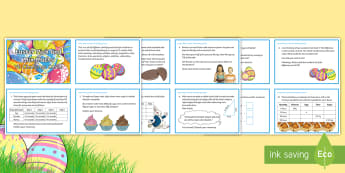Y6 Easter Pick and Mix Maths Challenge Cards - Y6, UKS2, Upper Key Stage Two, Maths, reasoning, problem-solving, number,  proportion, ratio, fracti