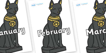 Months of the Year on Egyptian Cats - Months of the Year, Months poster, Months display, display, poster, frieze, Months, month, January, February, March, April, May, June, July, August, September