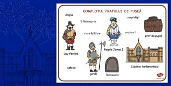 Complotul Prafului de Pusca - plansa imagini, cuvinte, istorie, Romanian