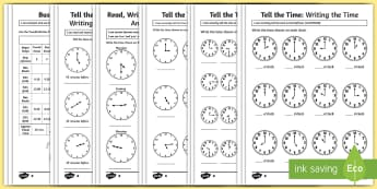 Tell and Write the Time Differentiated Activity Sheets Resource Pack - F - 3 New resources aligned to Aus Curriculum, ACMMG020, ACMMG039, ACMMG062, ACMMG085, ACMMG086, ACM