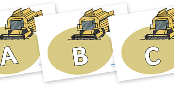 A-Z Alphabet on Combine Harvesters - A-Z, A4, display, Alphabet frieze, Display letters, Letter posters, A-Z letters, Alphabet flashcards