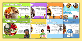 Year 6 Nutrients Display Poster Pack - y6, year six, ks2, food, healthy, eating, nutrition, eat, eating, science, biology, carohydrates, vitamins, energy, muscle, health