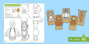 Canadian Animals Paper Bag Craft Instructions - Great Canadian Animals, animals, Canada, puppet, puppets, paper bag, craft