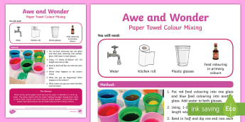 Paper Towel Colour Mixing Awe and Wonder Science Activity - towel