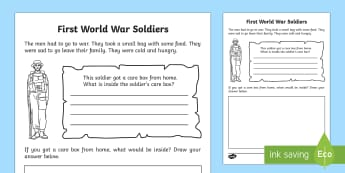 Soldier's Care Box Read and Draw Activity Sheet