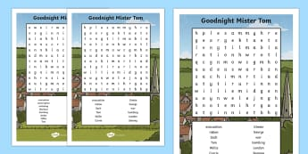 Word Search to Support Teaching on Goodnight Mister Tom Word Search - good night mr tom, Continue to read and discuss an increasingly wide range of fiction, poetry, plays