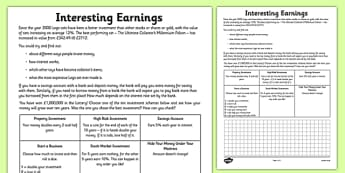 Interesting Earnings Interest Calculation Activity Sheet - interest, money, bank, compound, simple, worksheet