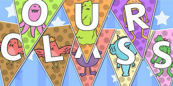 Welcome to Our Class Bunting Monster Themed - welcome, bunting