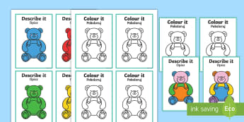 Describe It Colour It Teddy Game English/Polish - Describe It Colour It Teddy Game - describe it, colour, teddy,Polish-translation
