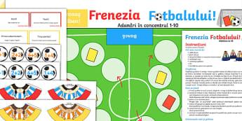 Joc cu adunări - La fotbal Joc de masă - jocuri, matematică, adumnări, română, materiale, adunare, 1-10, Romanian