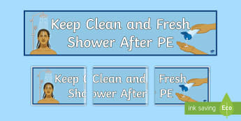 Shower After PE Banner - shower, hygeine, hygiene, sen, routine, clean, fresh