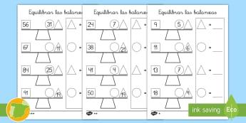 Ficha de actividad: Equilibrar las balanzas - medida, masa, comparar, comparación, equilibrar, sumar, restar, balanza, mates, matemáticas, ,Span
