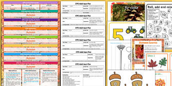 EYFS Autumn Themed Lesson Plan Enhancement Ideas and Resources Pack - seasonal, early years, plane, theme, reources, pack, display, activities, work, sheets, inspiration