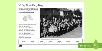 VE Day Diary Activity Sheet - Secondary - Event - VE Day 08/05/2017, Second World War, History, KS3, Home Front, Churchill, street