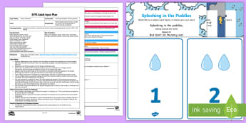 EYFS Counting Raindrops Listening Game Adult Input Plan and Resource Pack - EYFS, Early Years planning, water, water cycle, rain, weather, rainy, raindrops, listening, Communic