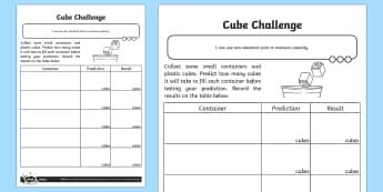 Cubes Challenge Activity Sheet - Measurement, non-standard units, measure, capacity, volume, worksheet, measuring