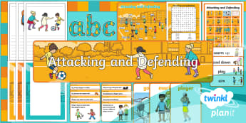 PlanIt - PE Year 1 - Attacking and Defending Additional Resources - Attacking and Defending, pe, physical, education, display, banner, posters, word cards, vocabulary,