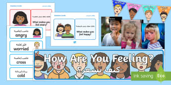 Understanding Emotions Ready Made Interactive Display Pack Arabic/English - emotion, scared, happy, sad, colours, posters, translation
