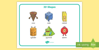 EYFS 3D Shape Word Mat Word Mat - Beginning to use mathematical names for 'solid' 3D shapes , and mathematical terms to describe s