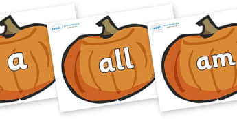 Foundation Stage 2 Keywords on Pumpkins - FS2, CLL, keywords, Communication language and literacy,  Display, Key words, high frequency words, foundation stage literacy, DfES Letters and Sounds, Letters and Sounds, spelling