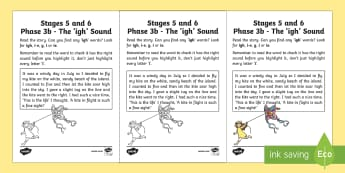 Linguistic Phonics Stage 5 and 6 Phase 3b, 'igh' Sound Activity Sheet
