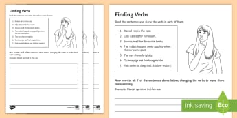 Find the Verbs Activity Sheet - writing, reading, verbs, comprehension, sen, entry level
