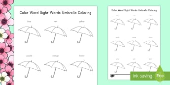 Color Words, Sight Words Umbrella Coloring Activity Sheet - Spring, First day of Spring, Umbrellas, Sight Words, Color Words, Colors, PreK, Kindergarten