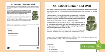 St. Patrick's Chair Read and Draw Activity Sheet - World Around Us KS2 - Northern Ireland, Ireland, St.Patrick, St.Patrick's Day, Art and Design, Crea