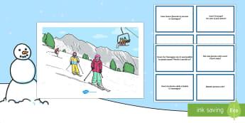 Pacco Scene Invernali e Schede con Domande  - inverno, domande, scene, immagine, illustrazione, invernale, esercizio italiano, italian