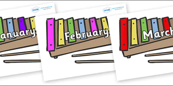 Months of the Year on Glockenspiels - Months of the Year, Months poster, Months display, display, poster, frieze, Months, month, January, February, March, April, May, June, July, August, September