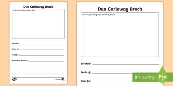Dun Carloway Broch Fact File Activity Sheet - Dun carloway, isle of lewis, iron age, scottish landmark, broch,Scottish
