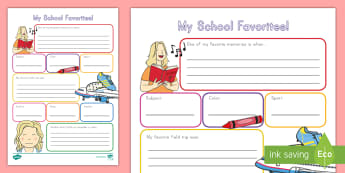 End-of-Year: My School Favorites Activity Sheet - End of school, end of school year, end of the year, graduation, worksheet