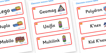 Spain Themed Editable Construction Area Resource Labels - Themed Construction resource labels, Label template, Resource Label, Name Labels, Editable Labels, Drawer Labels, KS1 Labels, Foundation Labels, Foundation Stage Labels