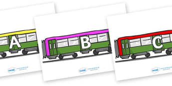A-Z Alphabet on Trains - A-Z, A4, display, Alphabet frieze, Display letters, Letter posters, A-Z letters, Alphabet flashcards