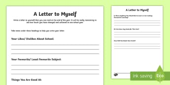 A Letter to Myself Activity Sheet - a letter to myself, letter, letter writing, transition, back to school, new class, target, goals,Sco