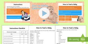 How to Write Instructions LKS2 Lesson Teaching Pack - How to Write Instructions, moderation, example text, instructions, bossy verbs, imperative verbs, no
